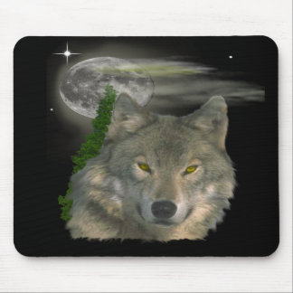 Wolf at night products mouse pad