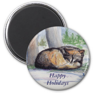 Wolf At Rest Holiday Magnet