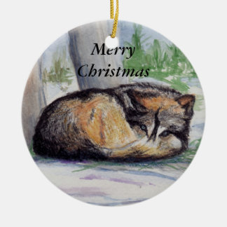 Wolf At Rest Merry Christmas Ornament