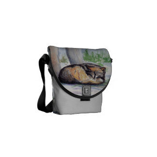 Wolf At Rest Mini Messenger Bag