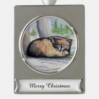 Wolf At Rest Silver Plated Banner Ornament