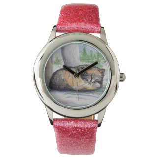 Wolf At Rest Wrist Watches