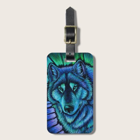 Wolf Aurora Colorful Blue Fantasy Luggage Tag
