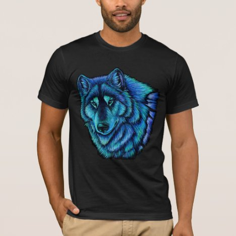 Wolf Aurora Colorful Blue Green Wolves T-Shirt