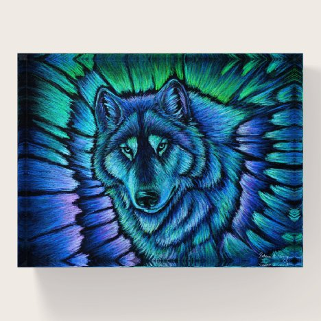 Wolf Aurora Colorful Fantasy Paperweight