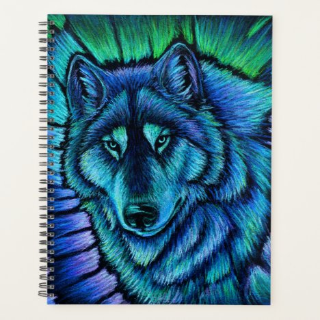 Wolf Aurora Colorful Fantasy Wolves Planner