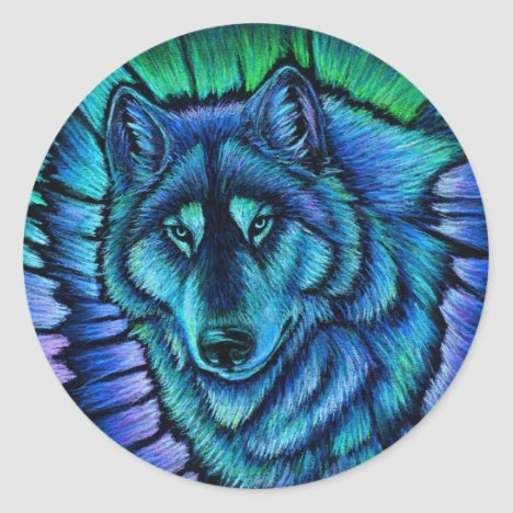 Wolf Aurora Colorful Fantasy Wolves Stickers