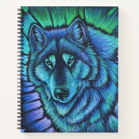 Wolf Aurora Colorful Spiral Notebook