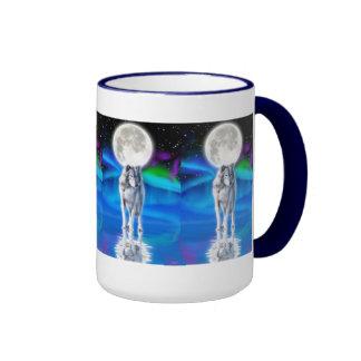 Wolf, Aurora & Moon Wildlife Fantasy Drinking Mug