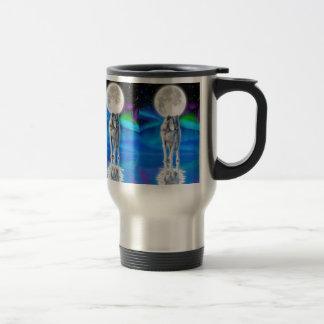 Wolf, Aurora & Moon Wildlife Fantasy Travel Mug