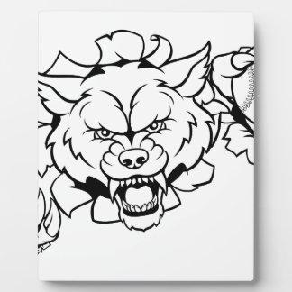 Wolf Baseball Mascot Breaking Background Plaque