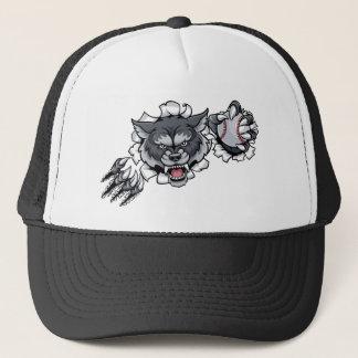 Wolf Baseball Mascot Breaking Background Trucker Hat