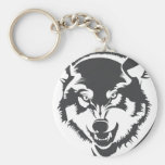 Wolf Basic Round Button Keychain