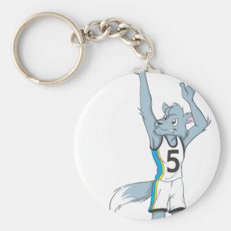 Wolf Basketball Player Making a Shot Basic Round Button Keychain