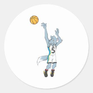 Wolf Basketball Player Making a Shot Classic Round Sticker