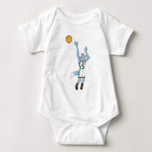 Wolf Basketball Player Making a Shot Infant Creeper