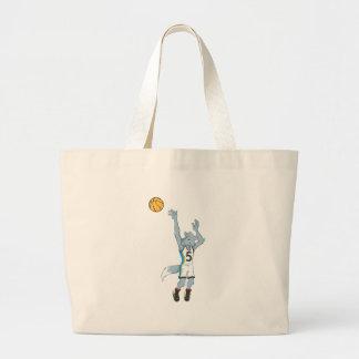 Wolf Basketball Player Making a Shot Large Tote Bag