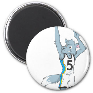 Wolf Basketball Player Making a Shot 2 Inch Round Magnet