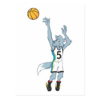 Wolf Basketball Player Making a Shot Postcards