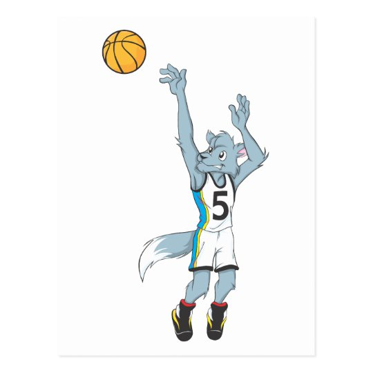 Wolf Basketball Player Making a Shot Postcard