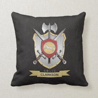 Wolf Battle Crest Black Throw Pillow