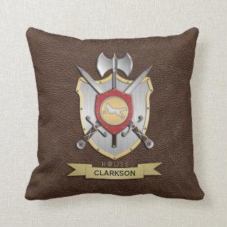 Wolf Battle Crest Brown Throw Pillow