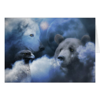 Wolf, Bear and Eagle Happy Holidays Xmas Card