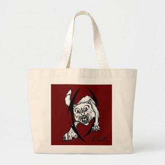 Wolf bites large tote bag