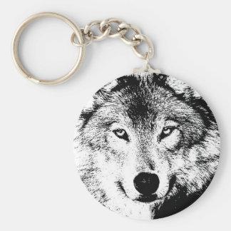Wolf - Black & White Creative Ink Artwork Keychain