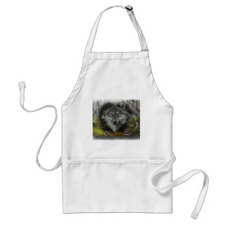 Wolf blending into River painting Adult Apron