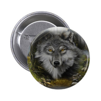 Wolf blending into River painting Button