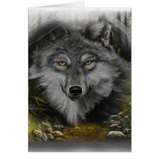 Wolf blending into River painting Card