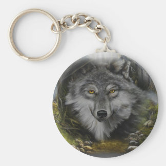 Wolf blending into River painting Keychain