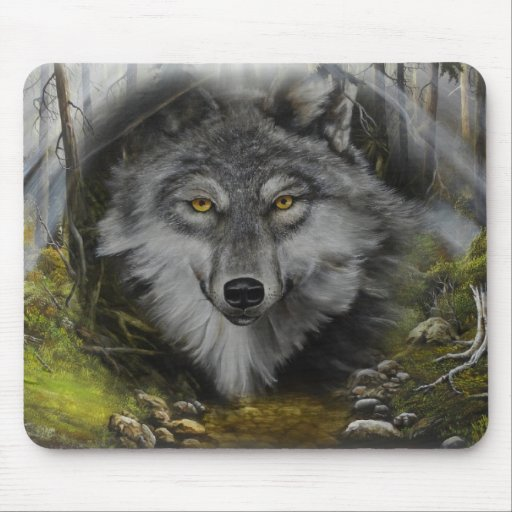 Wolf blending into River painting Mouse Pads