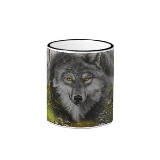 Wolf blending into River painting Mugs