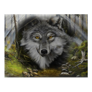 Wolf blending into River painting Post Cards