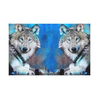 Wolf Blue Mixed Media Art Canvas Print