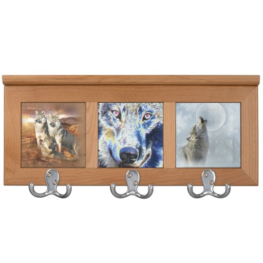 Wolf Blue Moon,face,trio Coat Rack