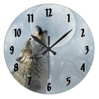 Wolf Blue Moon Large Clock