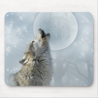 Wolf Blue Moon Mouse Pad