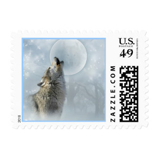 Wolf Blue Moon(small) Stamps