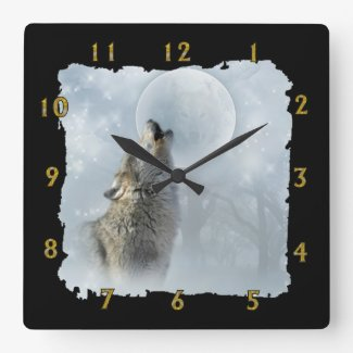 Wolf Blue Moon Square Wall Clock