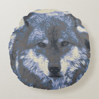 Wolf,blue Round Pillow