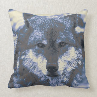 Wolf,blue Throw Pillows