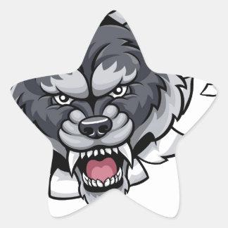 Wolf Bowling Mascot Breaking Background Star Sticker