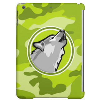 Wolf; bright green camo, camouflage iPad air covers