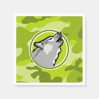 Wolf; bright green camo, camouflage disposable napkin