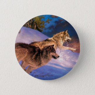 Wolf brown - snow wolf - two wolves pinback button