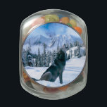 """Wolf Call Glass Candy Jar<br><div class=""""desc"""">Beautiful Scene of a wolf calling out during winter. Scene created in Photoshop cs5</div>"""