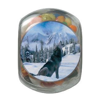Wolf Call Glass Candy Jar